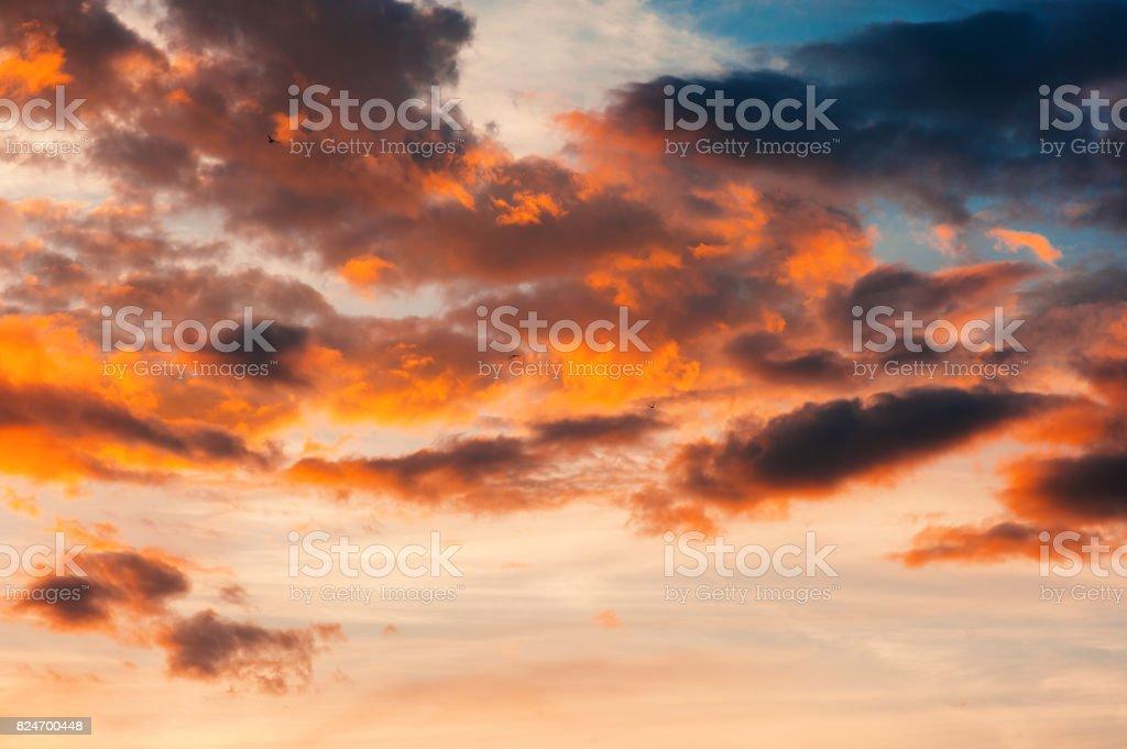 Epic sunset sky background, dramatic bright sunset outdoors shot...