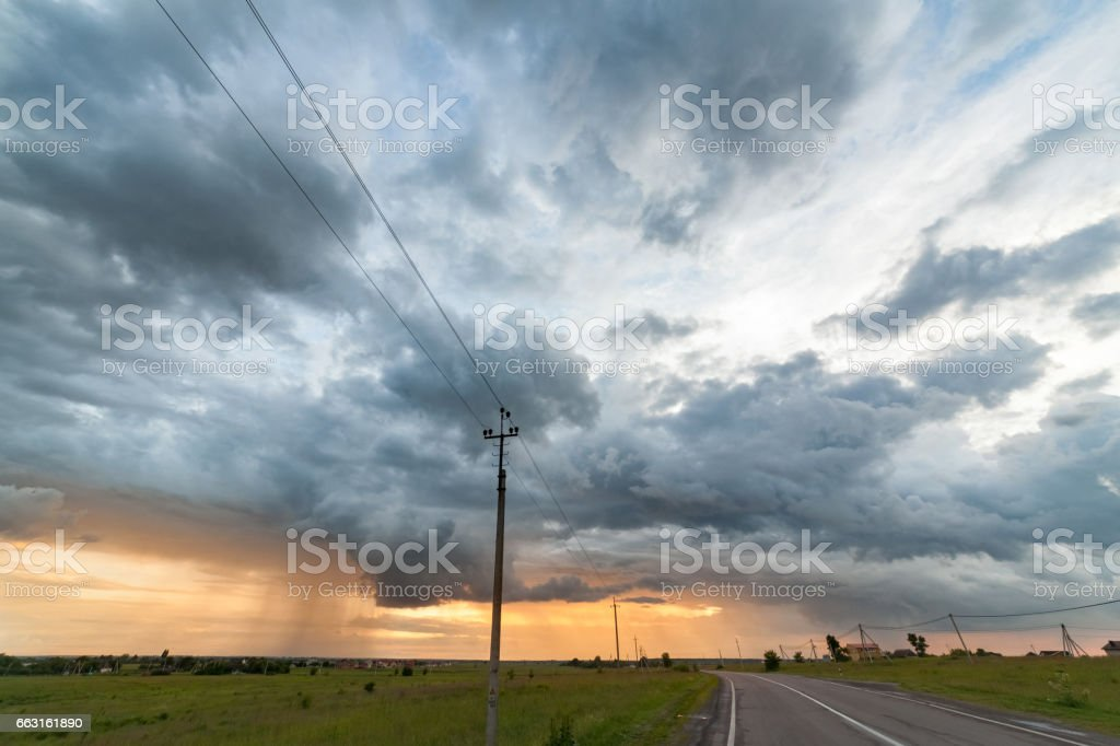 Beautiful sunset tornado whit the horizon line , would make a great and very easy extractable background to incorporate into designs stock photo