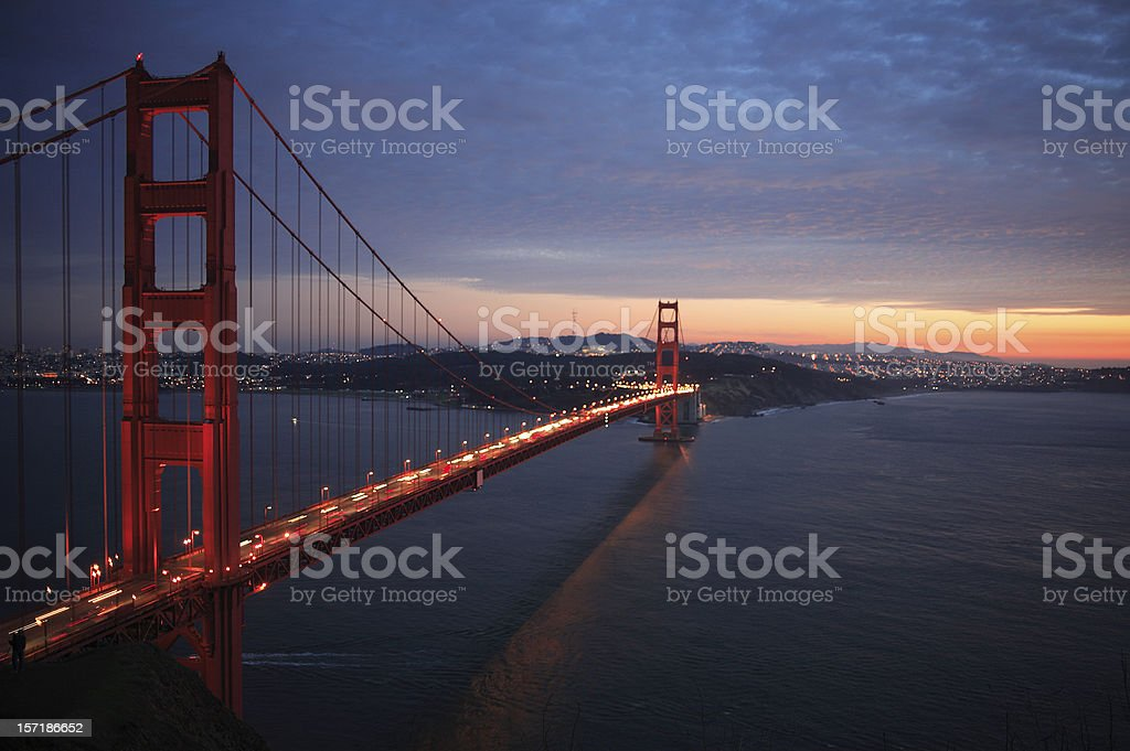 Beautiful sunset view of Golden Gate Bridge royalty-free stock photo