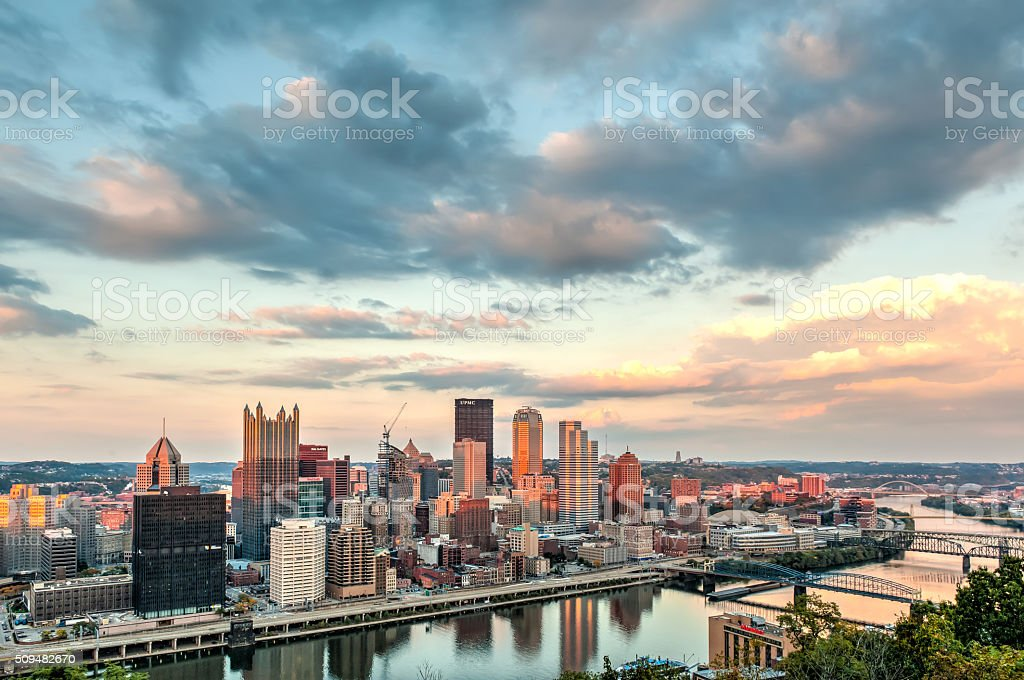 Beautiful sunset view of Pittsburgh from Mount Washinghton stock photo