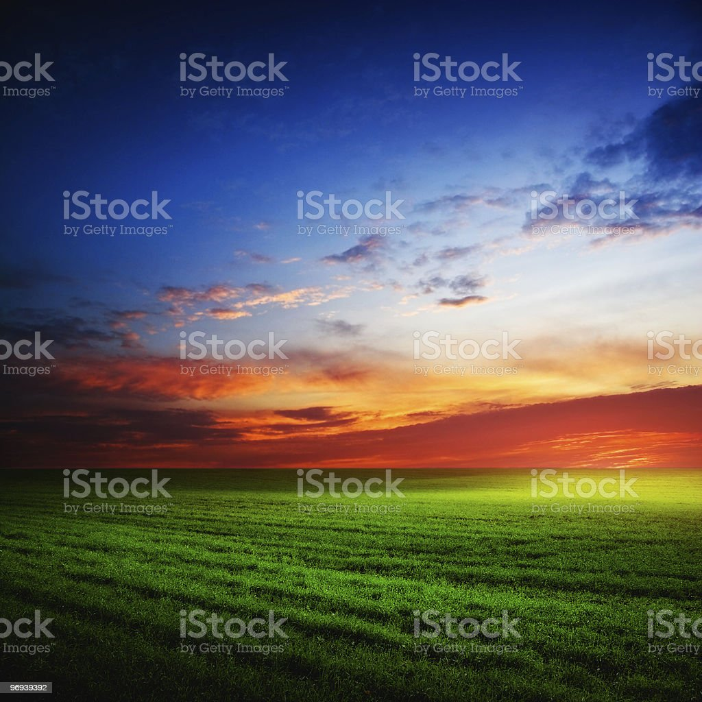 Beautiful sunset with a filter royalty-free stock photo