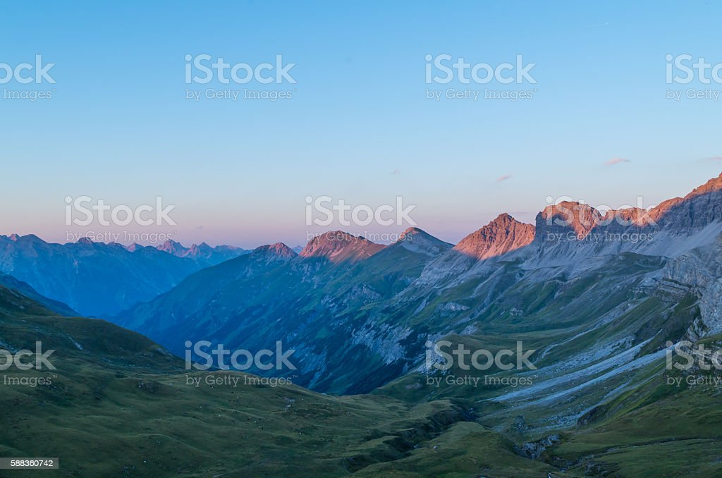 Beautiful sunset with alpine glow in the Lechtal Alps, Austria stock photo