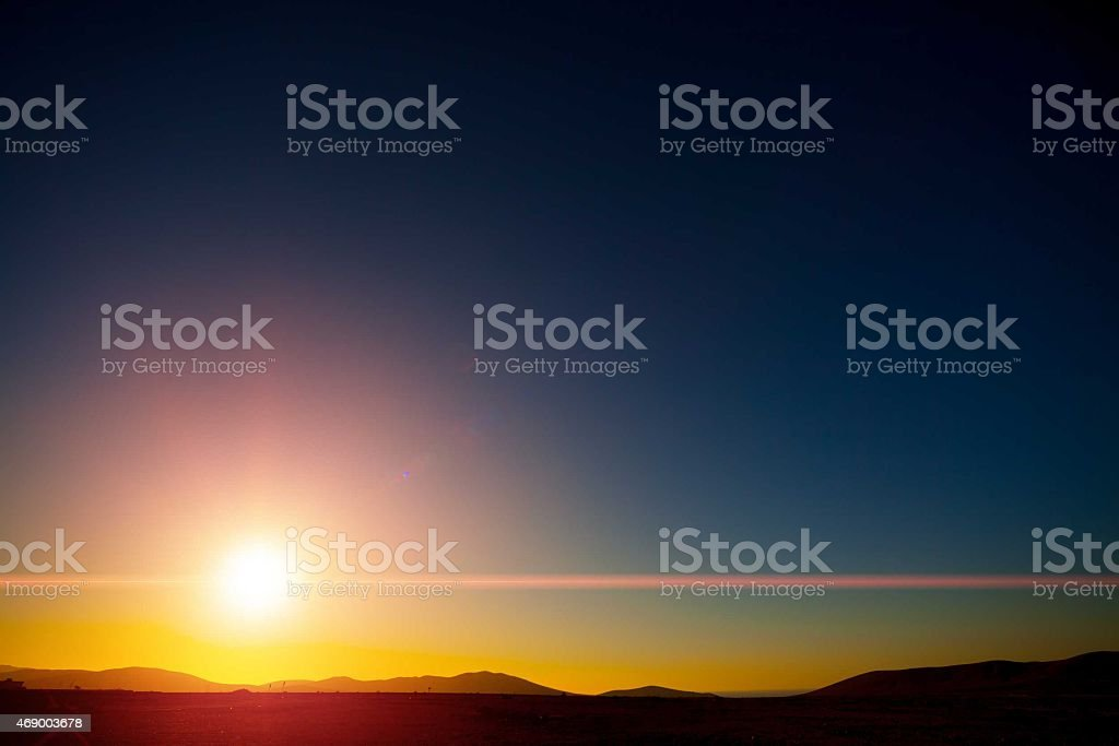 beautiful sunset with clear sky stock photo