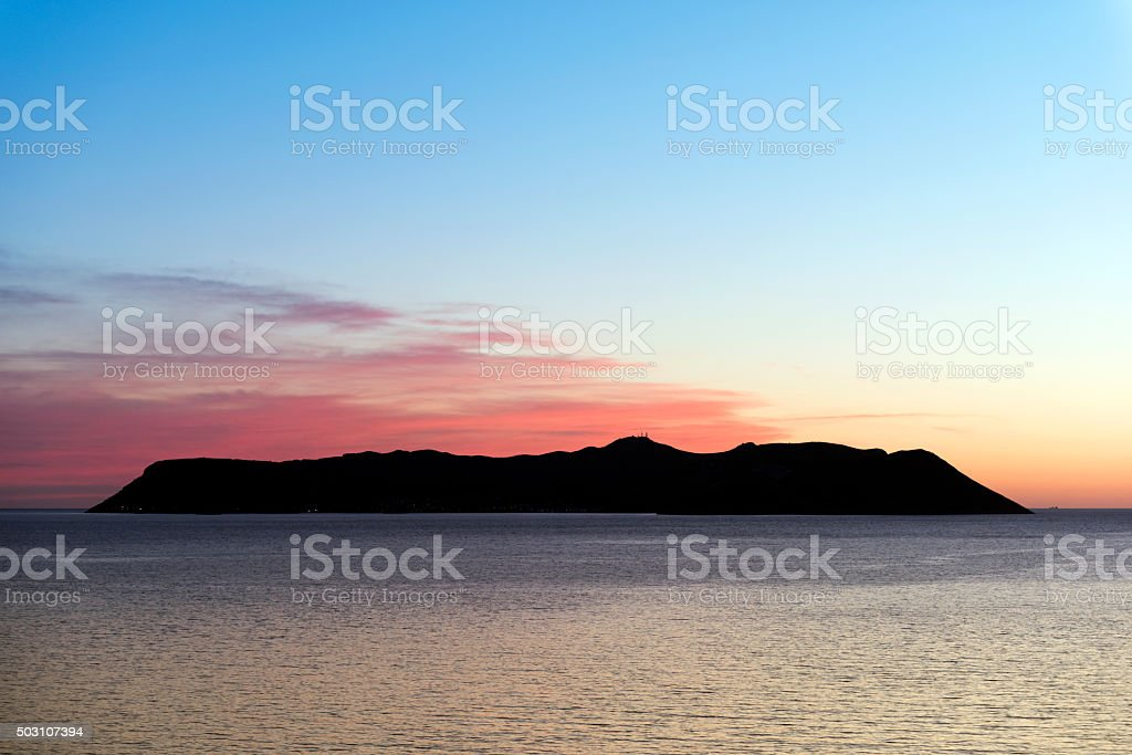 Beautiful Sunset with Meis Island stock photo