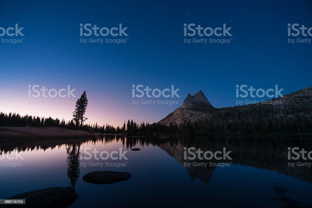 Beautiful Sunset with Stars at Upper Cathedral Lake, Yosemite stock photo