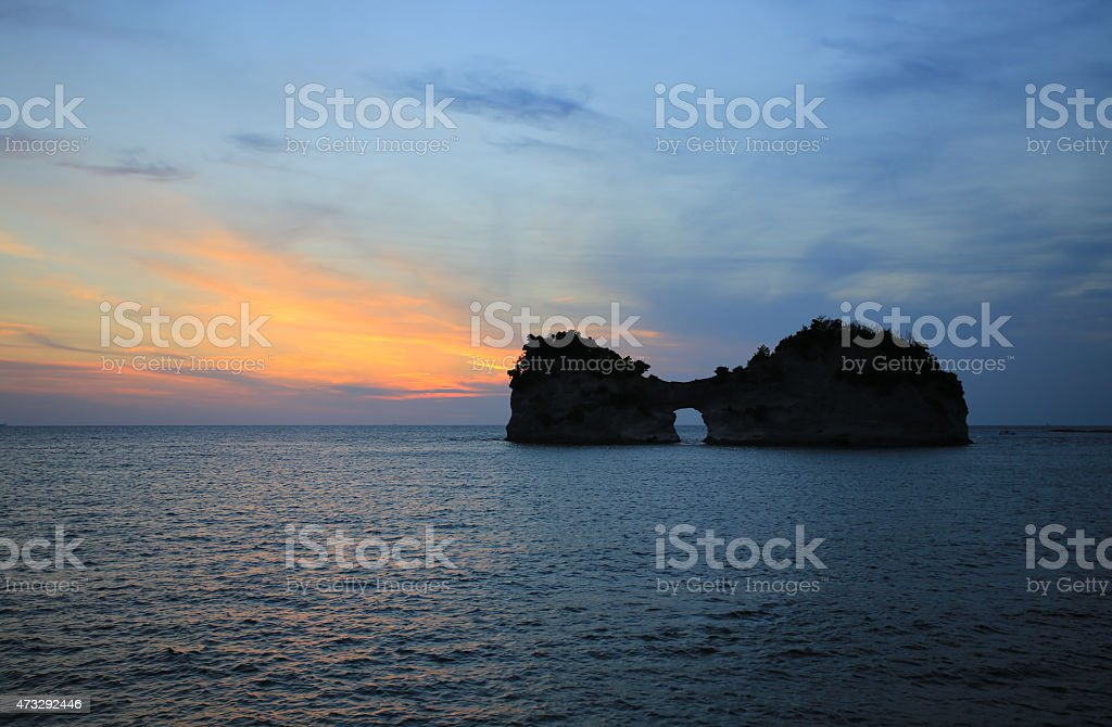 beautiful sunset with sunlit of Engetsu Island in southern japan stock photo