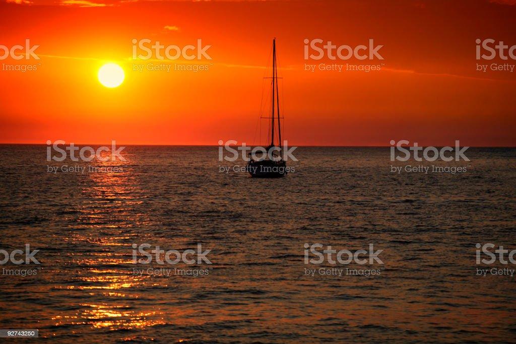 Beautiful sunset-Hvar Island-Croatia stock photo