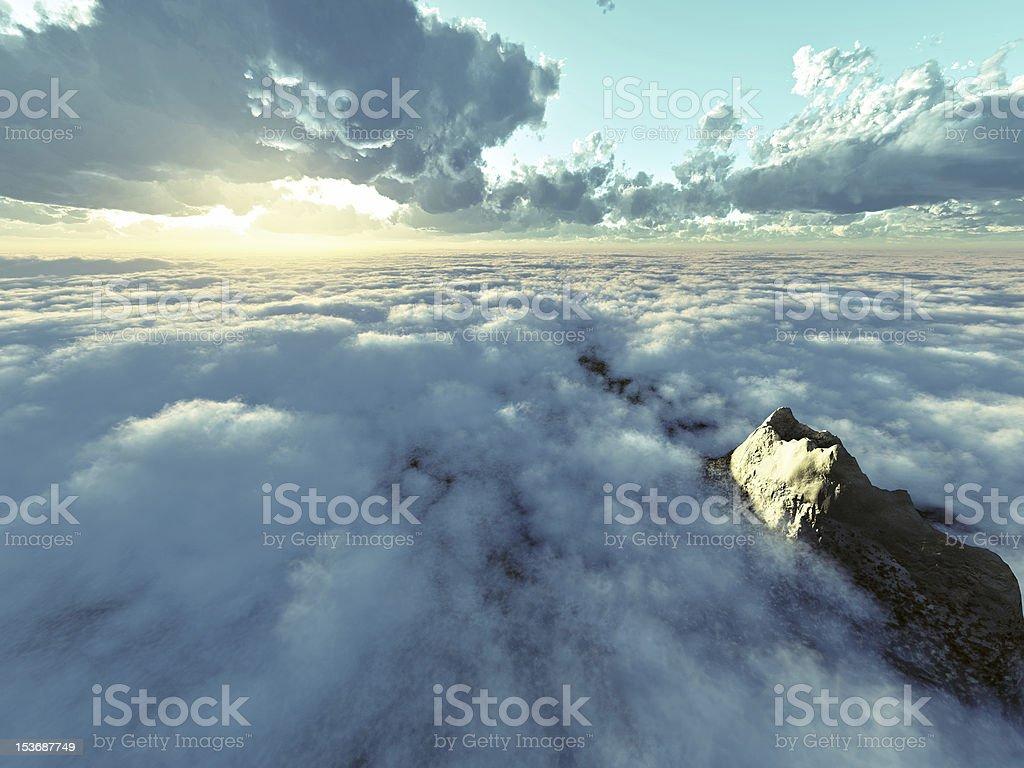 Beautiful sunshine above clouds stock photo