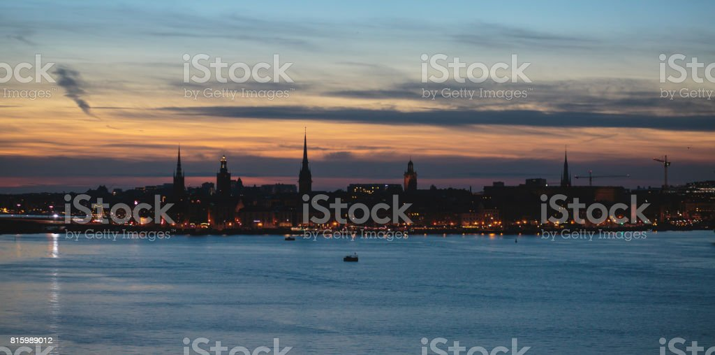 Beautiful super wide-angle panoramic aerial view of Stockholm, Sweden with harbor and skyline with scenery beyond the city, seen from the ferry, sunny summer day with blue sky'n stock photo