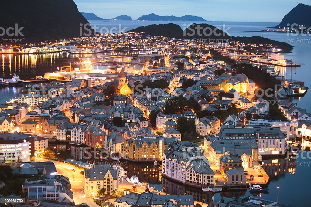 Beautiful super wide-angle summer aerial view of Alesund, Norway stock photo