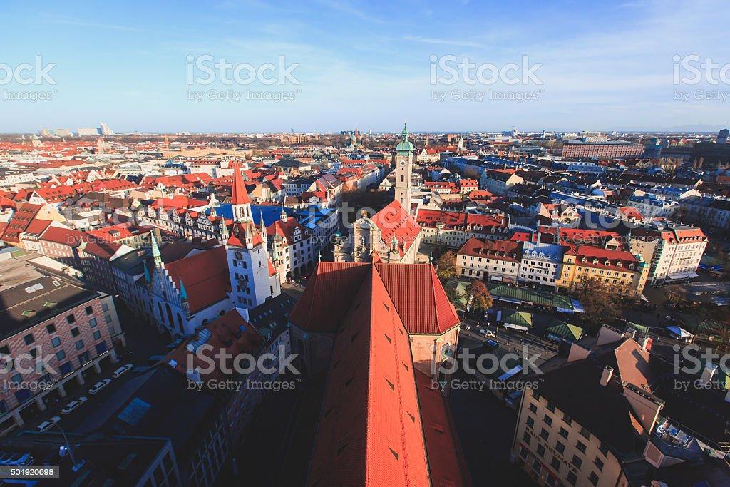 Beautiful super wide-angle sunny aerial view of Munich, Bayern, Bavaria stock photo
