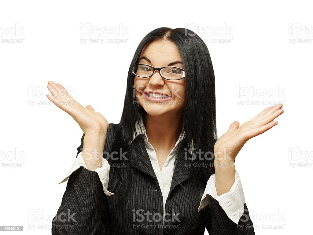 Beautiful surprised caucasian woman stock photo