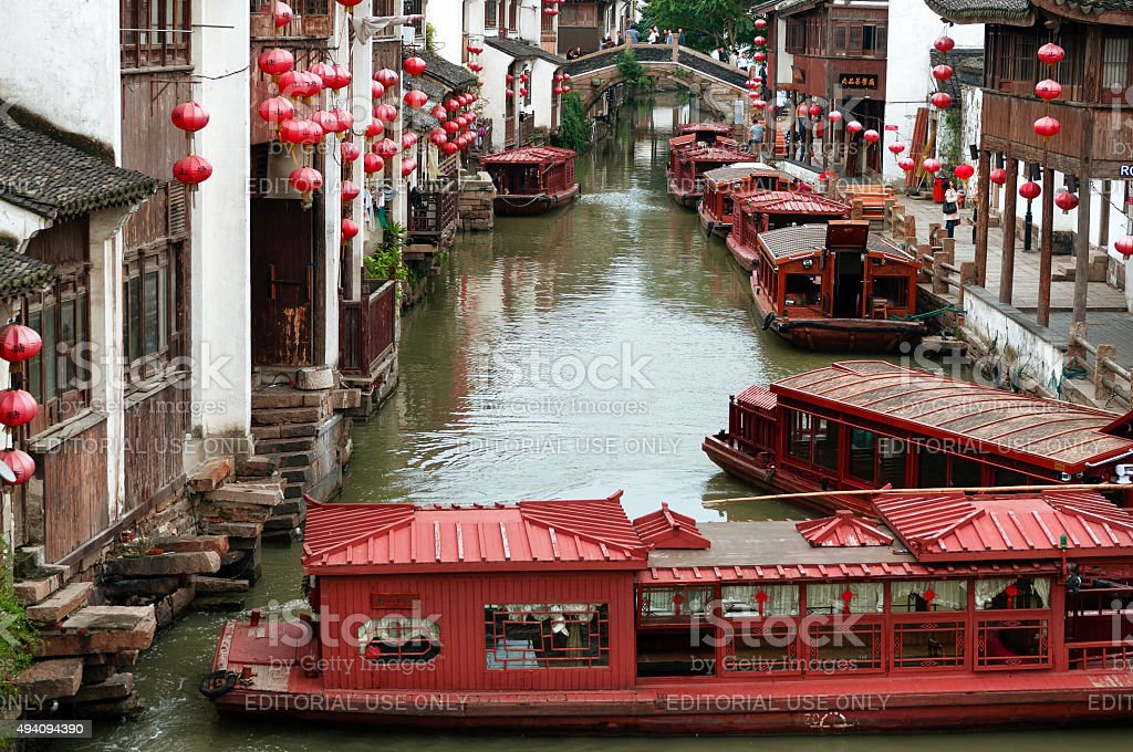 Beautiful Suzhou The Venice of China with Boats,people,China. stock photo
