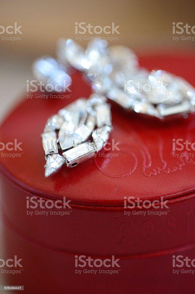 Beautiful Swarovski rhinestone Earrings stock photo