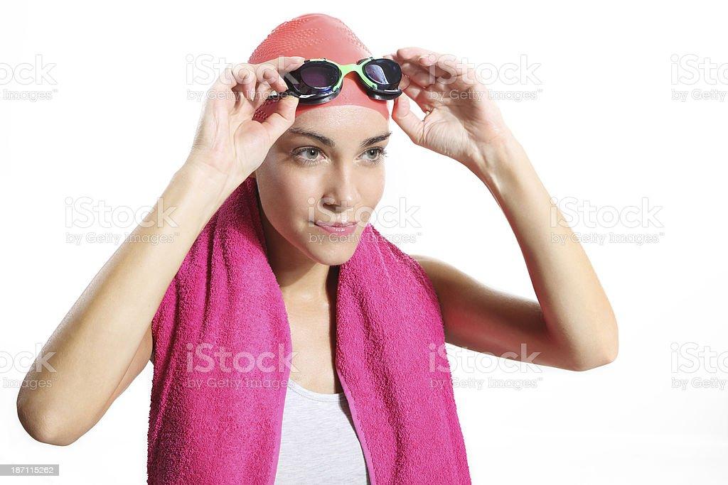 beautiful swimmer in orange bonnet stock photo