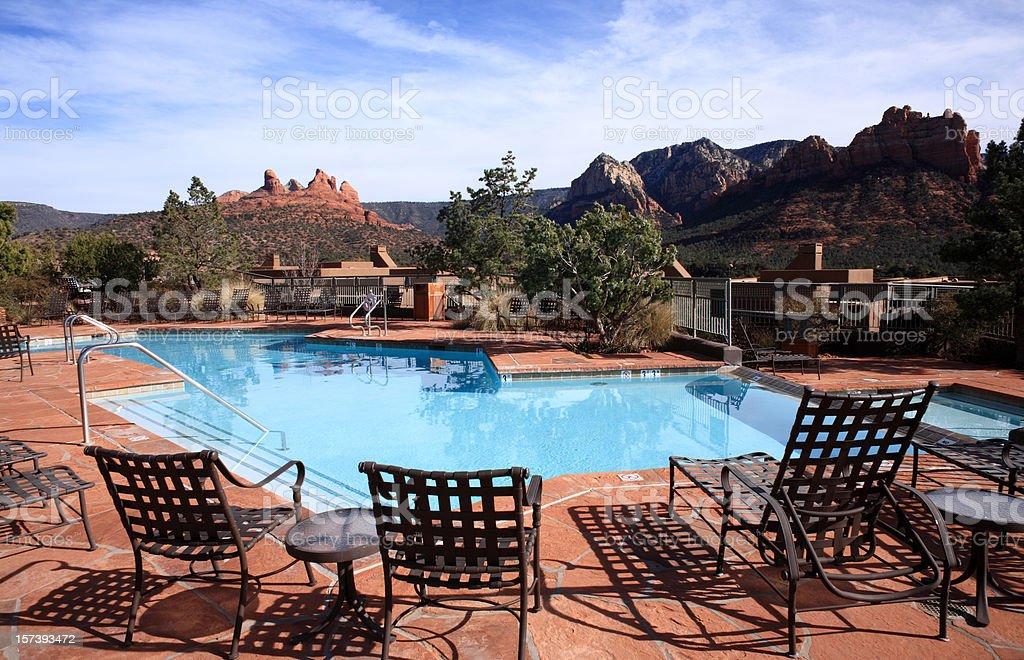 Beautiful swimming pool in American Southwest stock photo