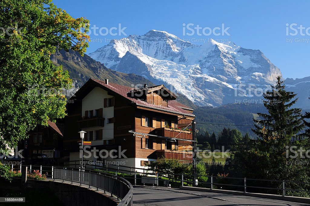Beautiful Swiss House and Landscape - XLarge royalty-free stock photo