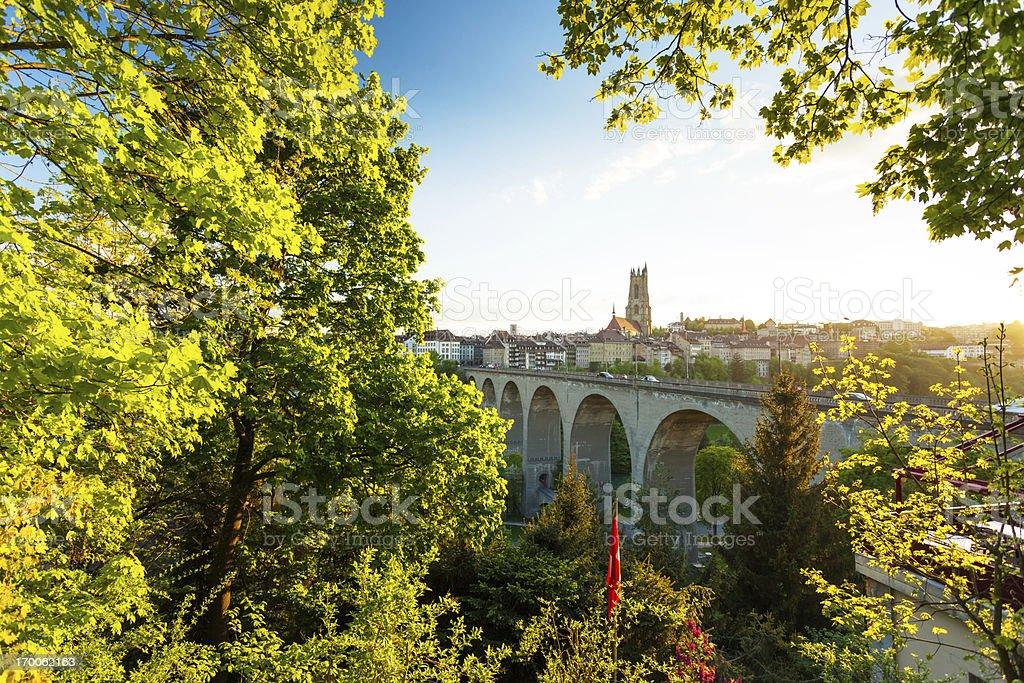 Beautiful Switzerland city Fribourg Sunrise stock photo