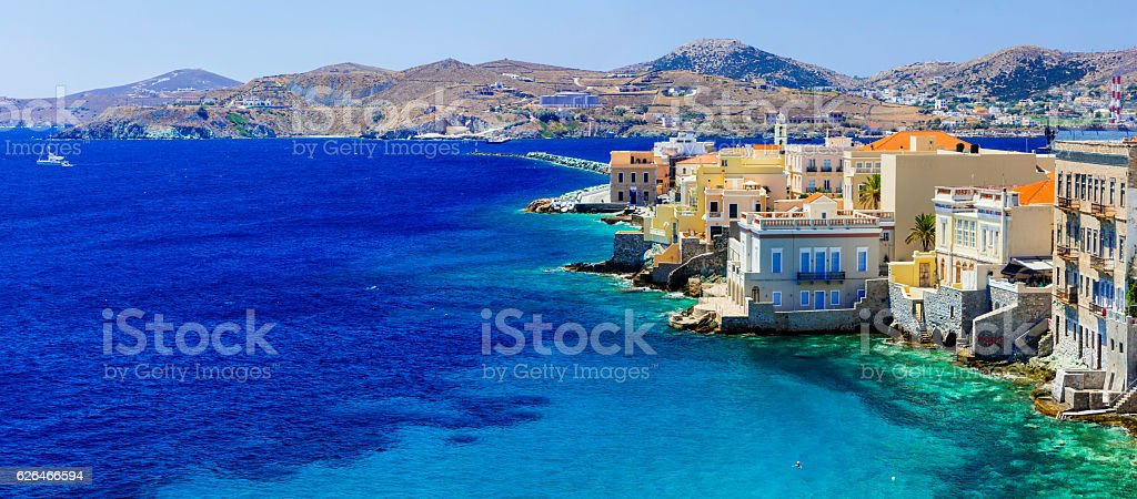 beautiful Syros island - panoramic view , Ermoupoli. Greece stock photo