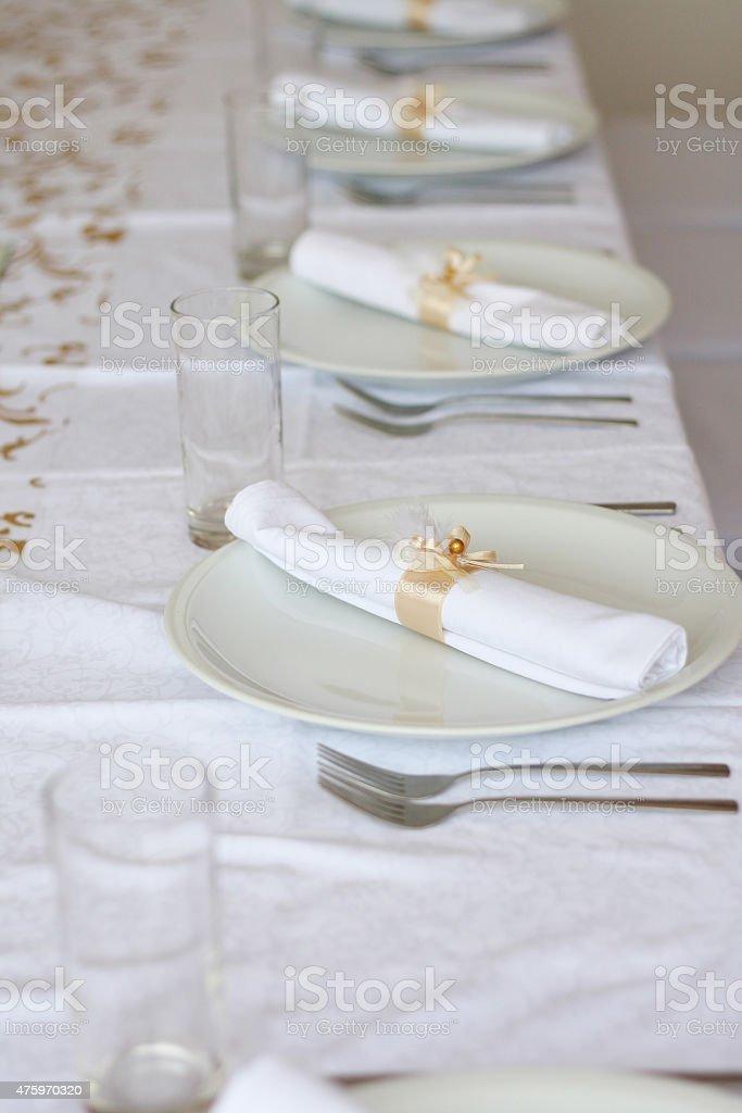 Beautiful table before celebration stock photo