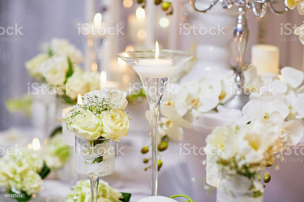 Beautiful table set for an event party or wedding reception stock photo