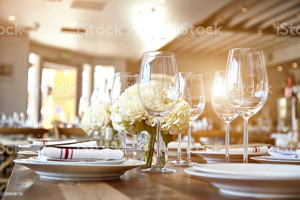 Beautiful table set for some festive event, party stock photo