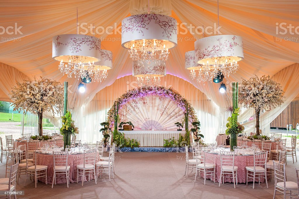 Indoor Wedding Venue Royalty Free Stock Photo: Beautiful Table Setting For An Wedding Reception Or An