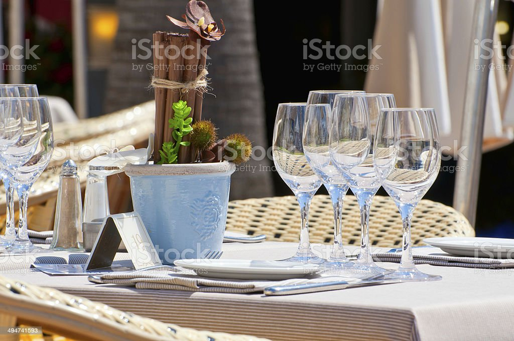 Beautiful table setting in an outdoor restaurant stock photo
