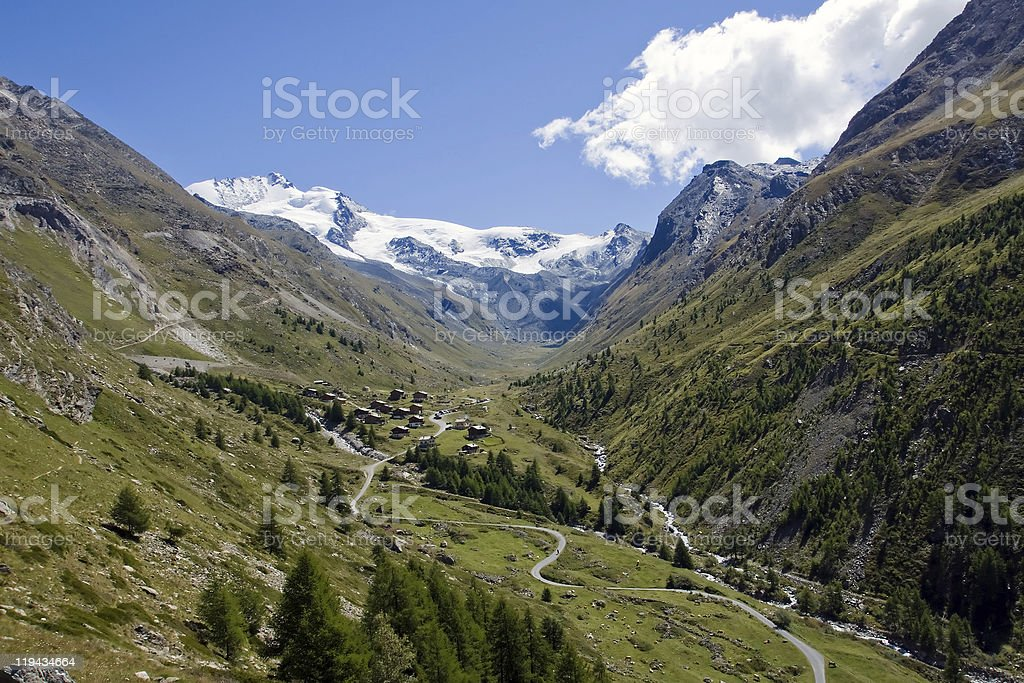 Beautiful Taesch valley in the swiss alps stock photo
