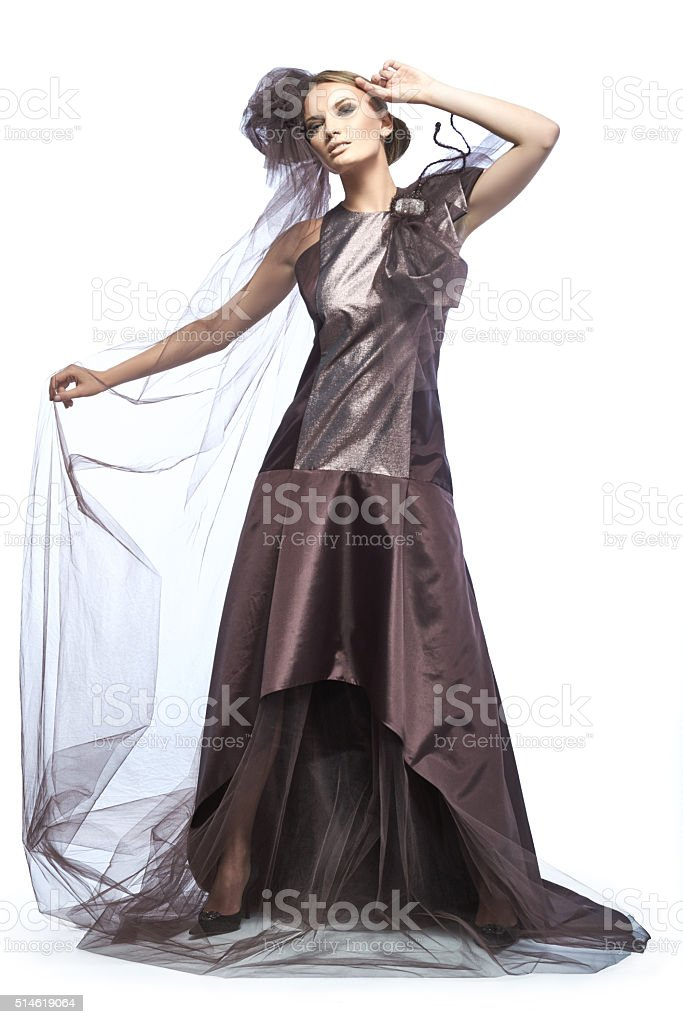 Beautiful tall girl dressed in expensive dark broun dress. stock photo