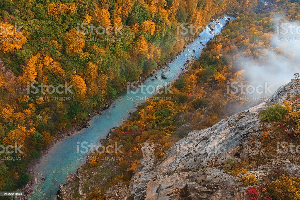 Beautiful Tara river gorge from above in autumn stock photo