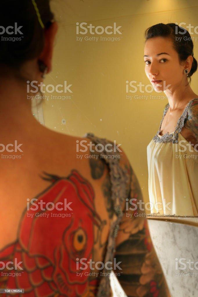 Beautiful tattooed girl royalty-free stock photo