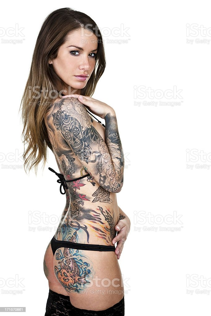 Beautiful tattooed woman isolated on white background royalty-free stock photo