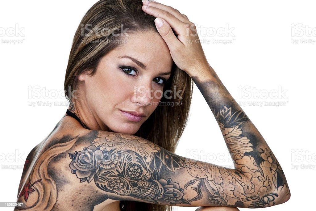 Beautiful tattooed woman royalty-free stock photo