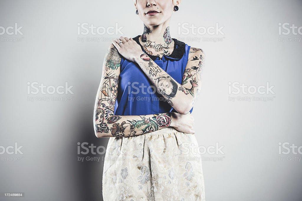 Beautiful Tattooed Woman Portrait royalty-free stock photo