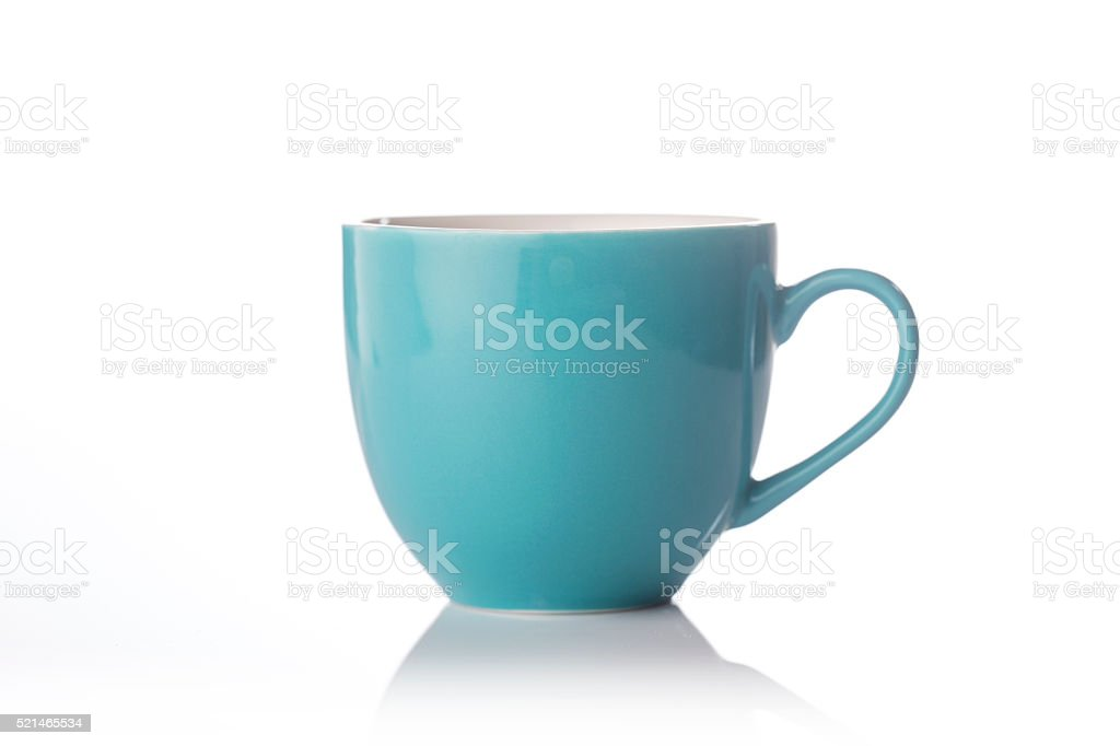 Beautiful teal color tea cup stock photo