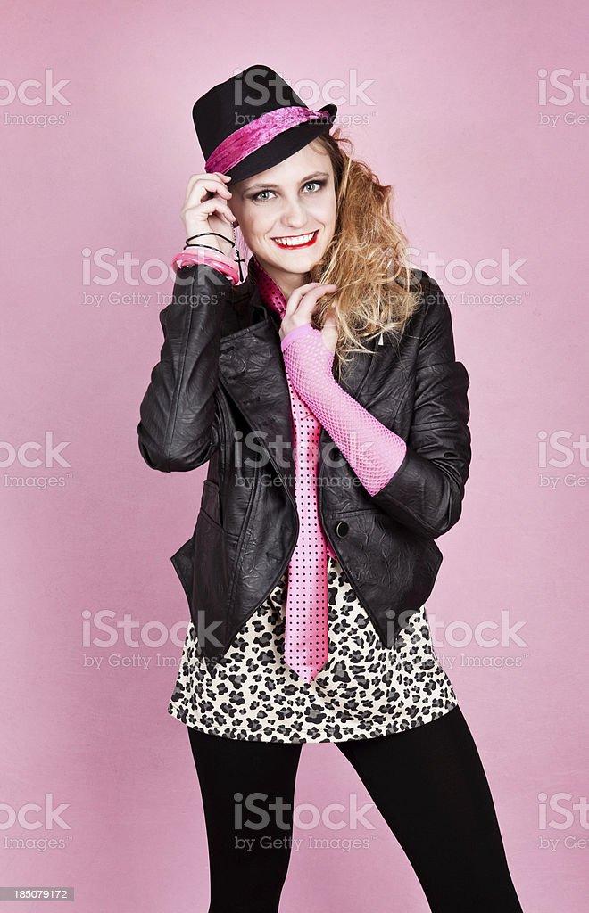 Beautiful Teen Dressed in 80's Fashion stock photo