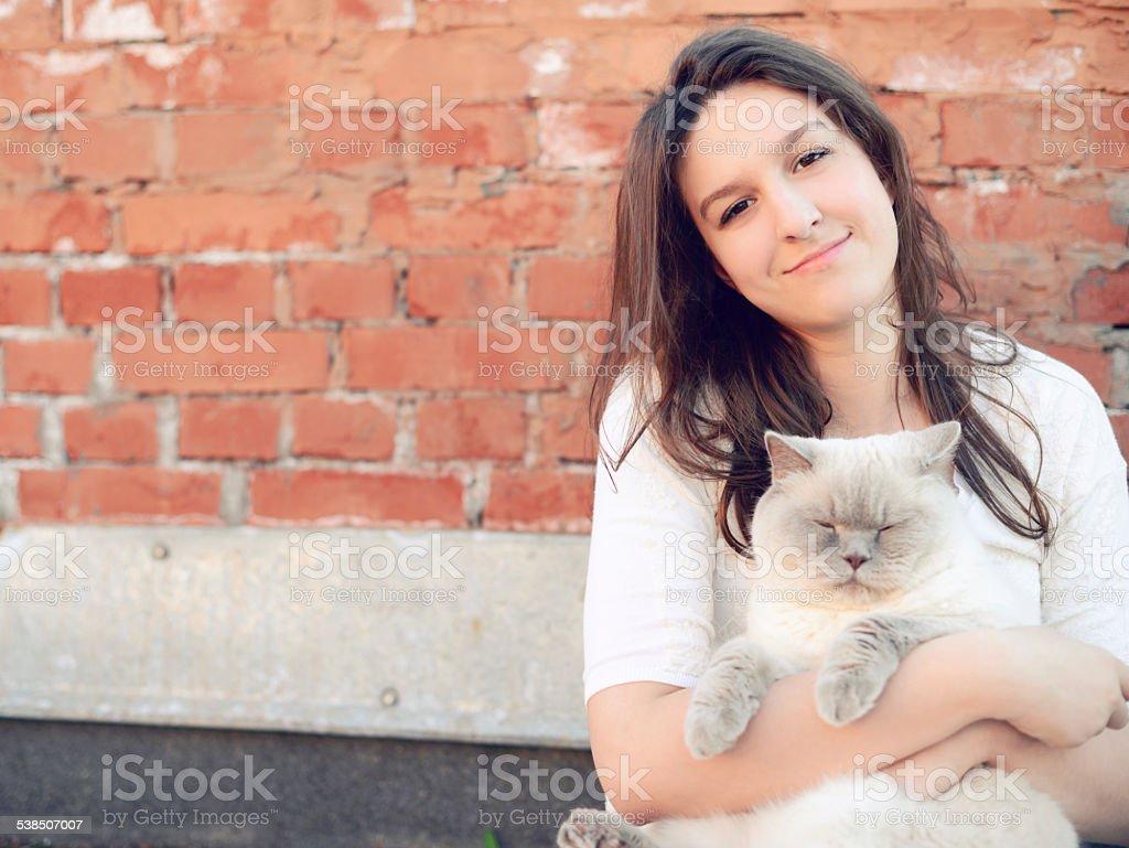 beautiful teen girl outdoor stock photo