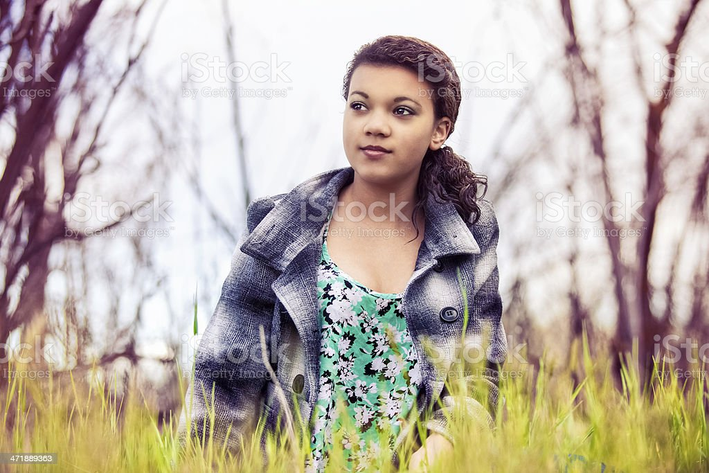 Beautiful Teen Girl Outdoors Nature royalty-free stock photo
