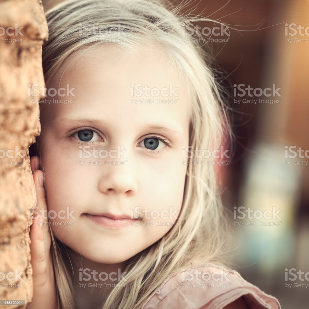 Beautiful teen girl outdoors stock photo