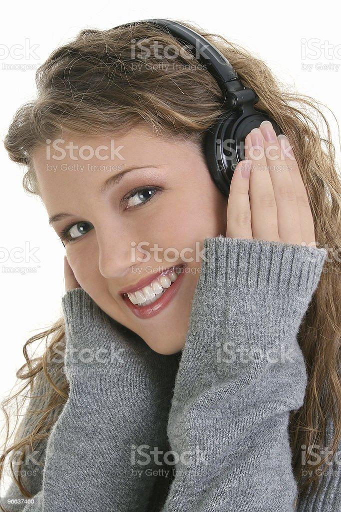 Beautiful Teen Girl Wearing Headphones royalty-free stock photo
