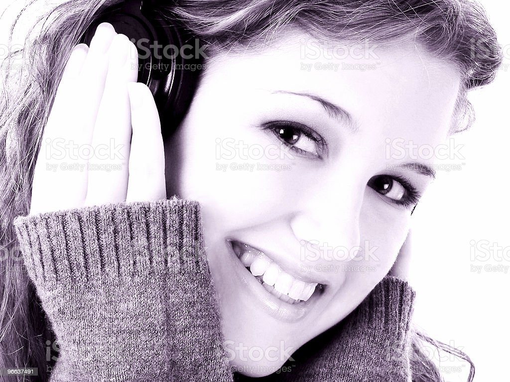 Beautiful Teen Girl with Headphones royalty-free stock photo