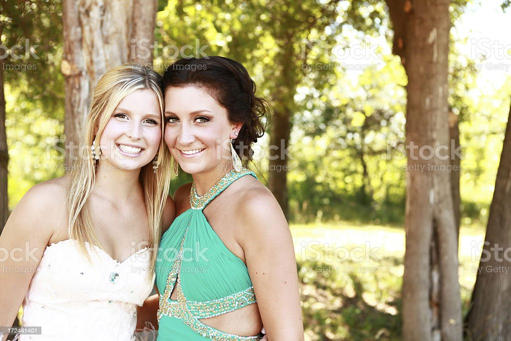 Beautiful Teen Girls Wearing Prom Dresses royalty-free stock photo