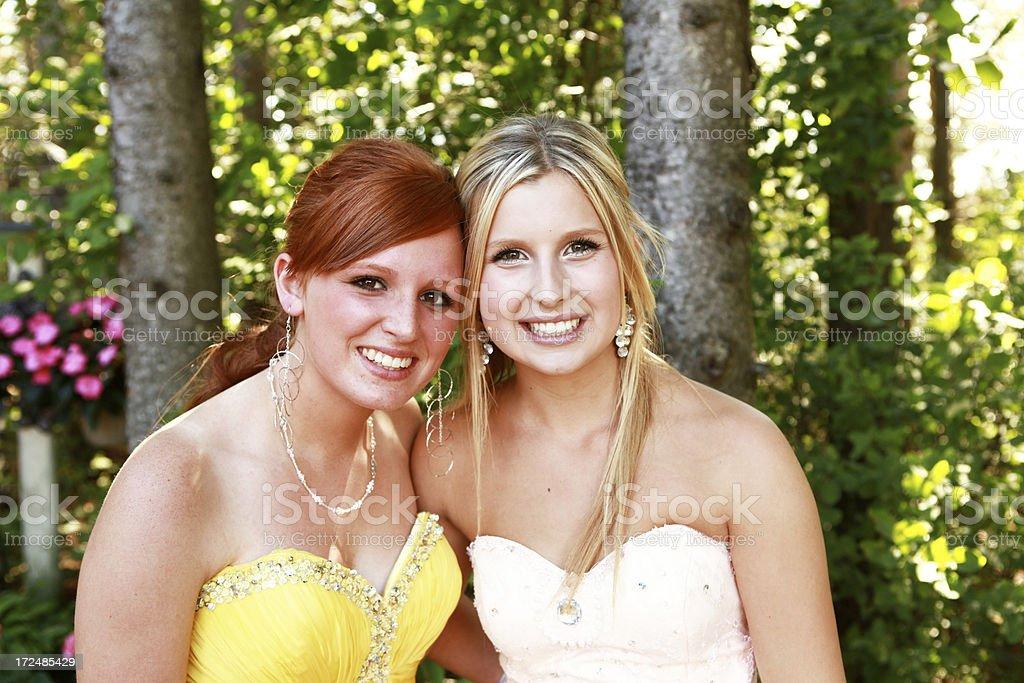 Beautiful Teen Girls Wearing Prom Dresses royalty-free stock photo