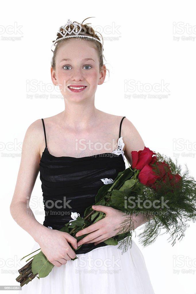 Beautiful Teen In Black Formal Dress royalty-free stock photo