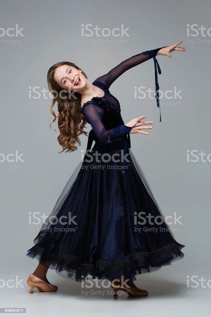 Beautiful teenage ballroom dancer stock photo