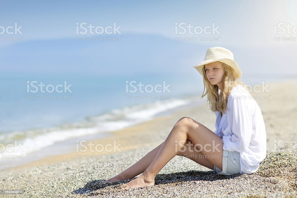 Beautiful Teenage Girl on the Beach royalty-free stock photo