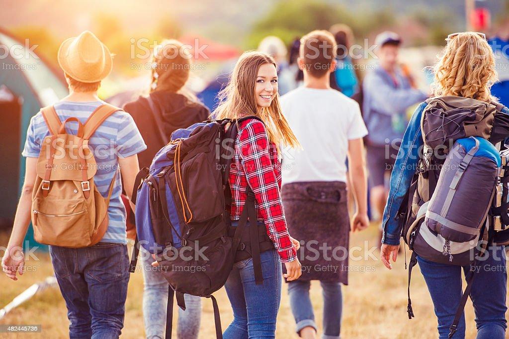 Beautiful teens at summer festival stock photo