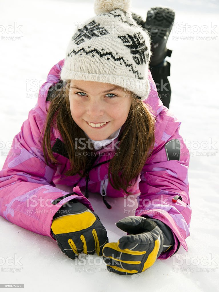 Beautiful ten years old skier royalty-free stock photo