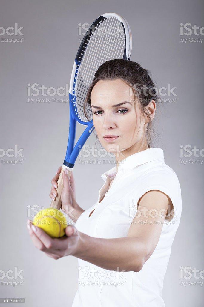 Beautiful tennis player stock photo